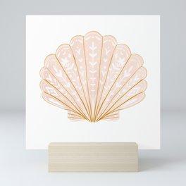 Seashell illustration in modern folk style  Mini Art Print