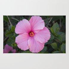 Single Pink Hibiscus Rug