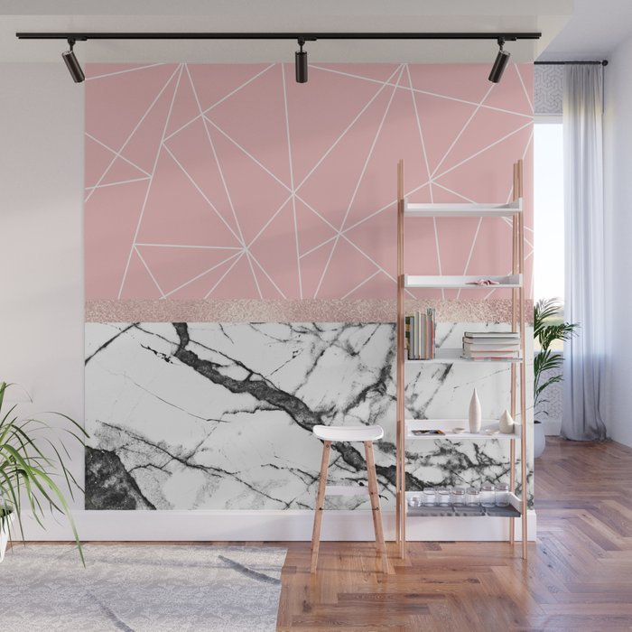 ff1d37cce815fd Blush Pink Geometric Triangles Rose Gold Marble Wall Mural by lafemmeart |  Society6