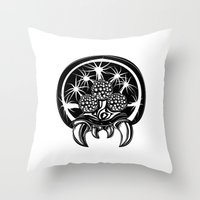 metroid Throw Pillows featuring Metroid by Barrett Biggers