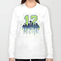 seahawks Long Sleeve T-shirts featuring Seattle 12th Man Art Skyline Watercolor  by Olechka
