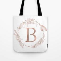 Letter B Rose Gold Pink Initial Monogram Tote Bag