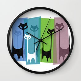 Kitty Cats Tuned In And Receiving Wall Clock