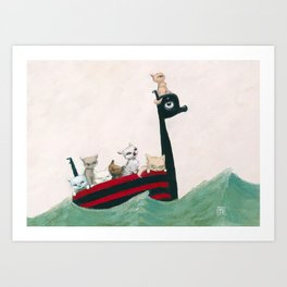 The Kittens Go for a Sail Art Print