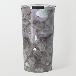 Sparkling Clear Light Purple Amethyst Crystal Stone Travel Mug