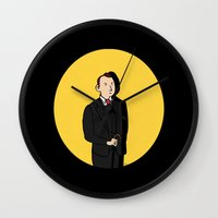 tintin Wall Clocks featuring Tintin style Mycroft by thediogenes