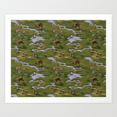 Vicuñas and Flamingoes Art Print