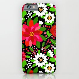Christmas Flowers and Holly, Poinsettia, Roses and Lilies, holidays, girls floral gift, gift for mom iPhone Case