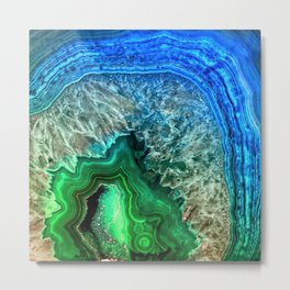 Turquoise Green Agate Mineral Gemstone Metal Print