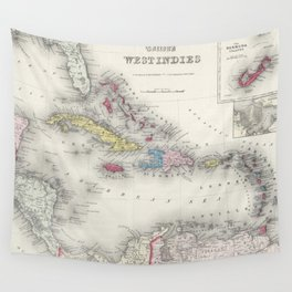 Vintage Map of The Caribbean (1865) Wall Tapestry