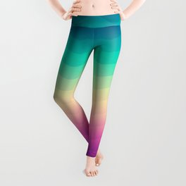 Abstract Geometric Rainbow Waves Pattern (Multi Color) Leggings