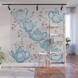 Vintage Teapots Wall Mural