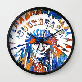 Southeast Native American Logo Design by Sharon Cummings Wall Clock