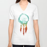 creative V-neck T-shirts featuring Dream Catcher (the rustic magic) by Picomodi
