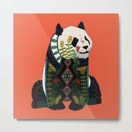 panda orange Metal Print