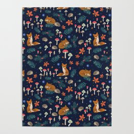 Fox and Hedgehog in Toadstool Woods In Blue Poster