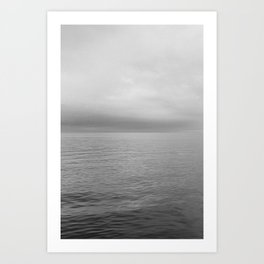Horizon | Minimal black and white seascape Denmark Art Print