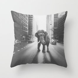 Elephant in the city Throw Pillow