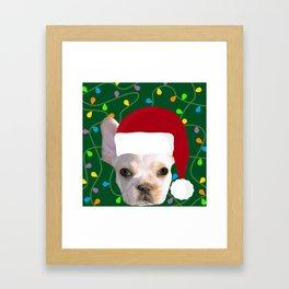 French Bulldog Santa Framed Art Print