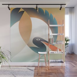 A portrait of a pelican with a red beak Wall Mural