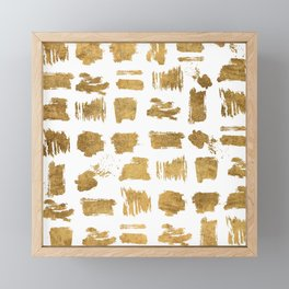 Elegant modern chic gold artsy brushstrokes Framed Mini Art Print