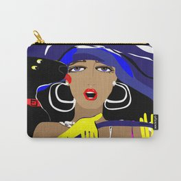"""Driving with my best friend"" Paulette Lust's Original, Contemporary, Whimsical, Colorful Art Carry-All Pouch"