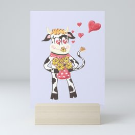 Snowbell the cow is in love Mini Art Print