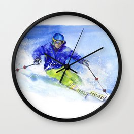 Watercolor skier, skiing illustration Wall Clock