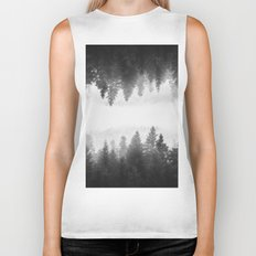 Black and white foggy mirrored forest Biker Tank