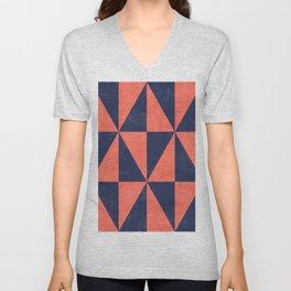 Geometric Triangle Pattern - Coral, Blue Unisex V-Neck