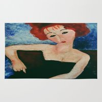 redhead Area & Throw Rugs featuring Redhead by Sandra Dimitrijevic