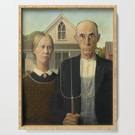 American Gothic Oil Painting by Grant Wood Serving Tray
