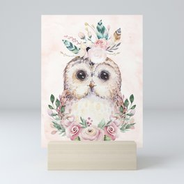 Forest Owl Floral Pink by Nature Magick Mini Art Print