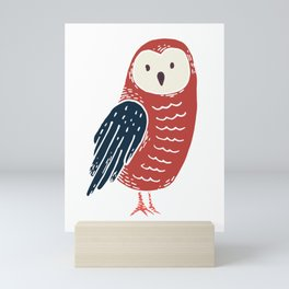 Red Baby Owl with Blue Feathers Mini Art Print