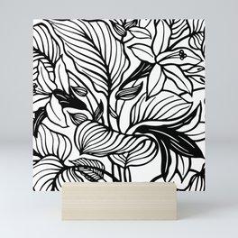 White Black Floral Minimalist Mini Art Print