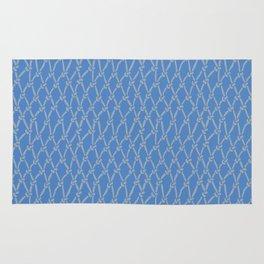 Fishing Net Grey on Blue Rug