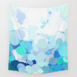 Blue watercolor abstract splatter Wall Tapestry