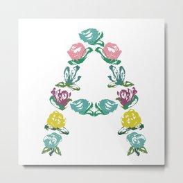 Floral A Monogram Metal Print