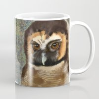 loish Mugs featuring Brown Wood Owl  by Visual Condyle