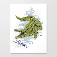 crocodile Canvas Prints featuring Crocodile by Sam Jones Illustration