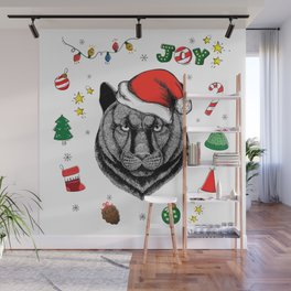 Merry Christmas Panther Wall Mural