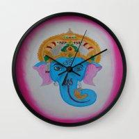 ganesh Wall Clocks featuring Ganesh by Pixie Willow Art Designs