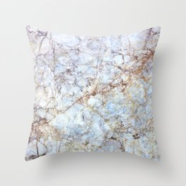 Rich Orange and Blue Marble Throw Pillow
