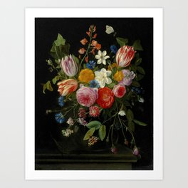 """Jan van Kessel de Oude """"Tulips, peonies, chicory, carnations, cherry blossom and other flowers"""" Art Print"""