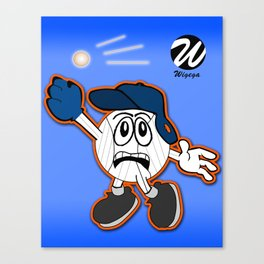 Sports Comic Character Trying to Catch Baseball Canvas Print