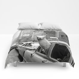 Llama Riding in Taxi, Black and White Vintage Print Comforters