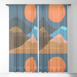 Abstraction_Mountains_Fantasy_Night Sheer Curtain