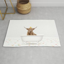 Highland Cow with Rubber Ducky in Vintage Bathtub Rug