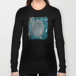 Silver Hamsa Hand On Turquoise Wood Long Sleeve T-shirt