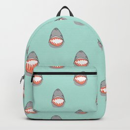 Great White Shark Heads in Grey with Aqua Ocean Water Backpack